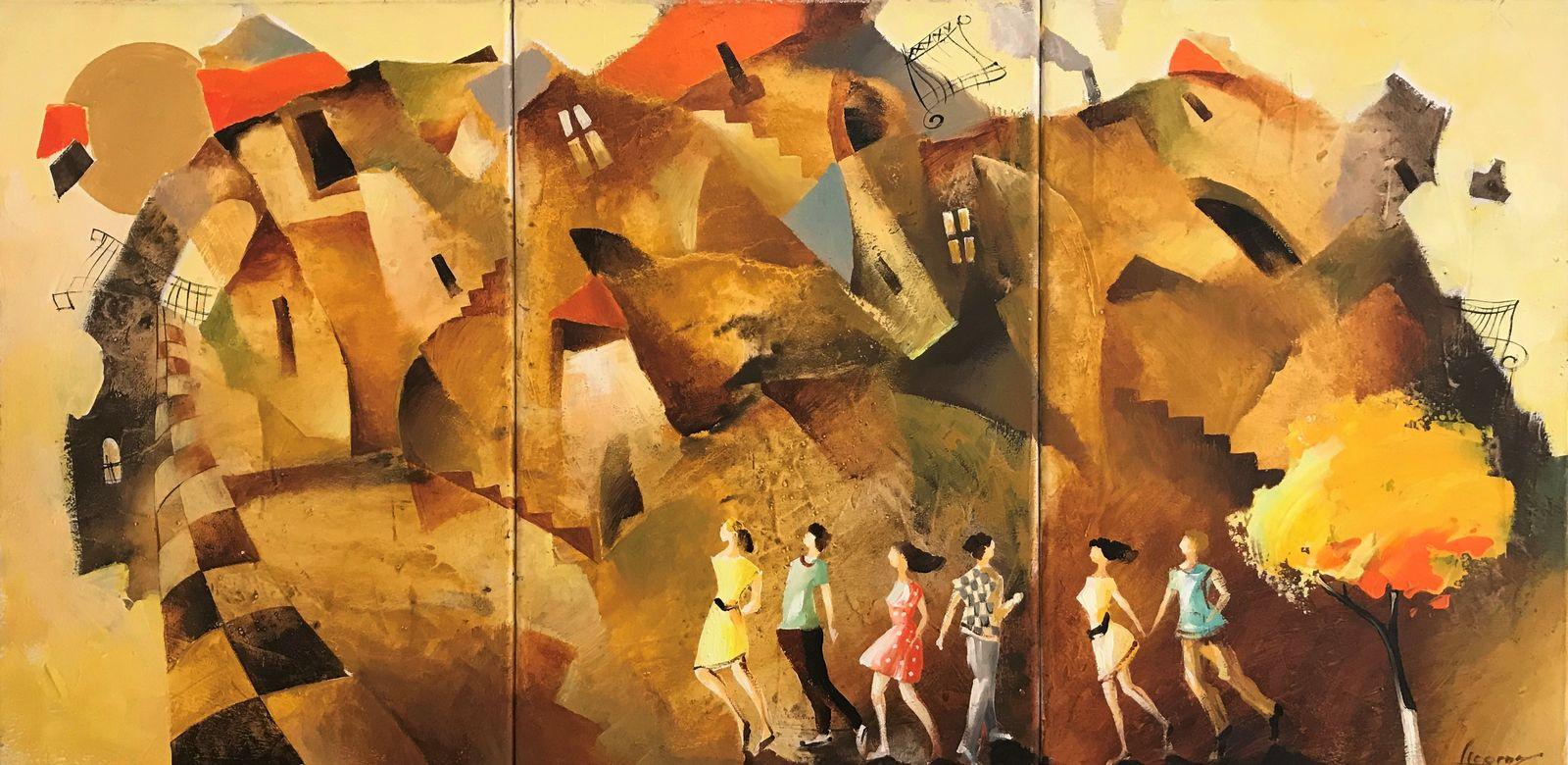 Γεώργου 60×120 Τρίπτυχο Ακρυλικά σε καμβά Georgou 60×120 Triptych Acrylics on canvas (1)
