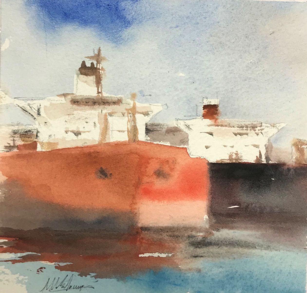 Μιχάλης Καλοκαιρινός 14×15 εκ Ακουαρέλα Michael Kalokairinos 14×15 cm Water colours on paper