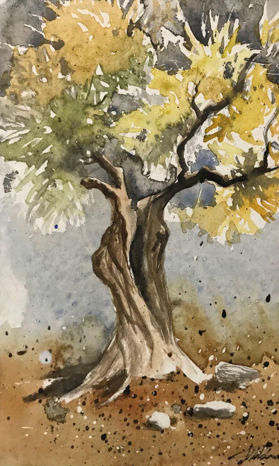 Μιχάλης Καλοκαιρινός 9×14 εκ Ακουαρέλα Michael Kalokairinos 9×14 cm Water colours on paper