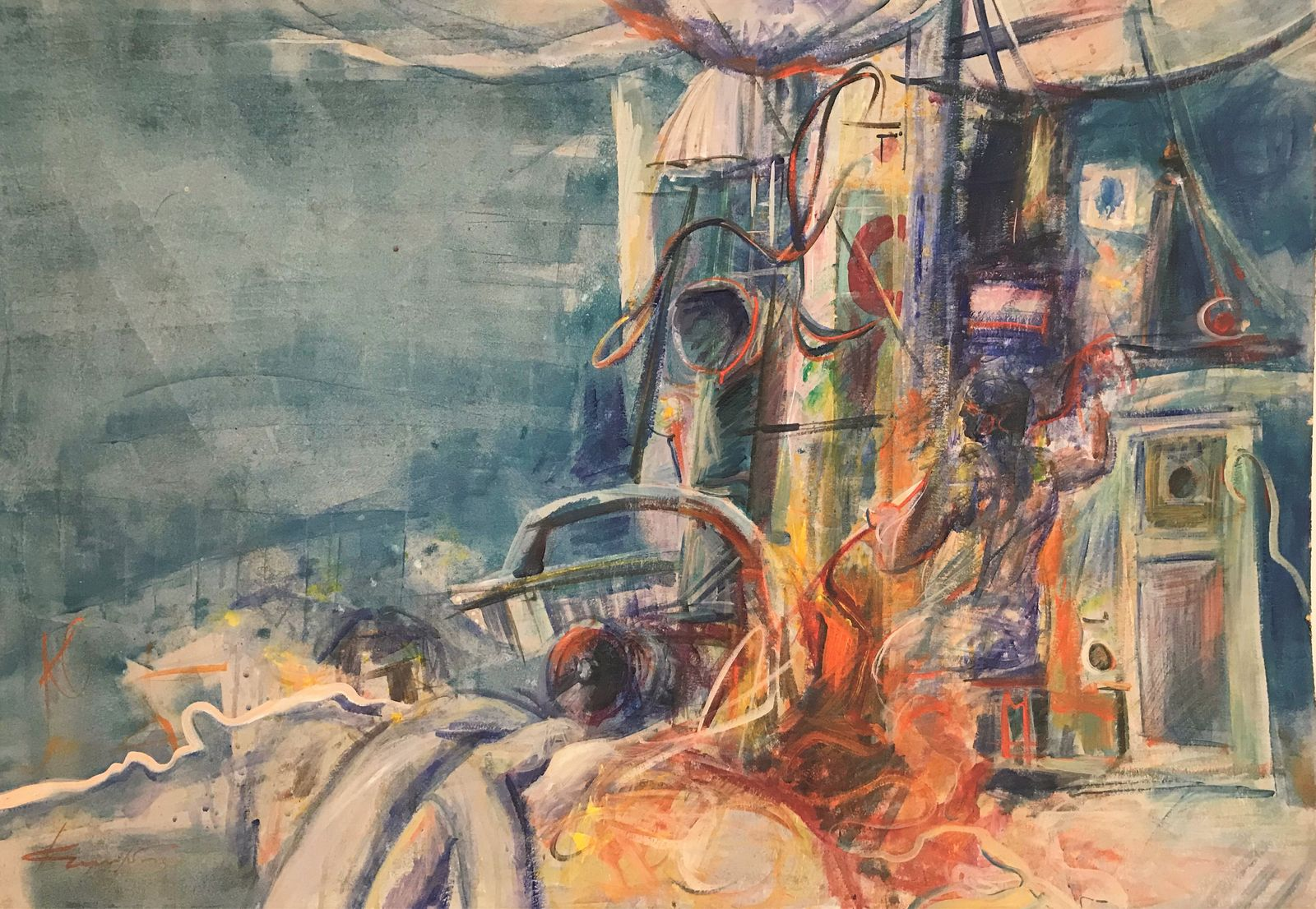 Σάββας Κωνσταντινίδης 75×107 εκ. Ακρυλικά σε χαρτόνι Savvas Konstantinidis 75×107 cm Acrylics on cardboard