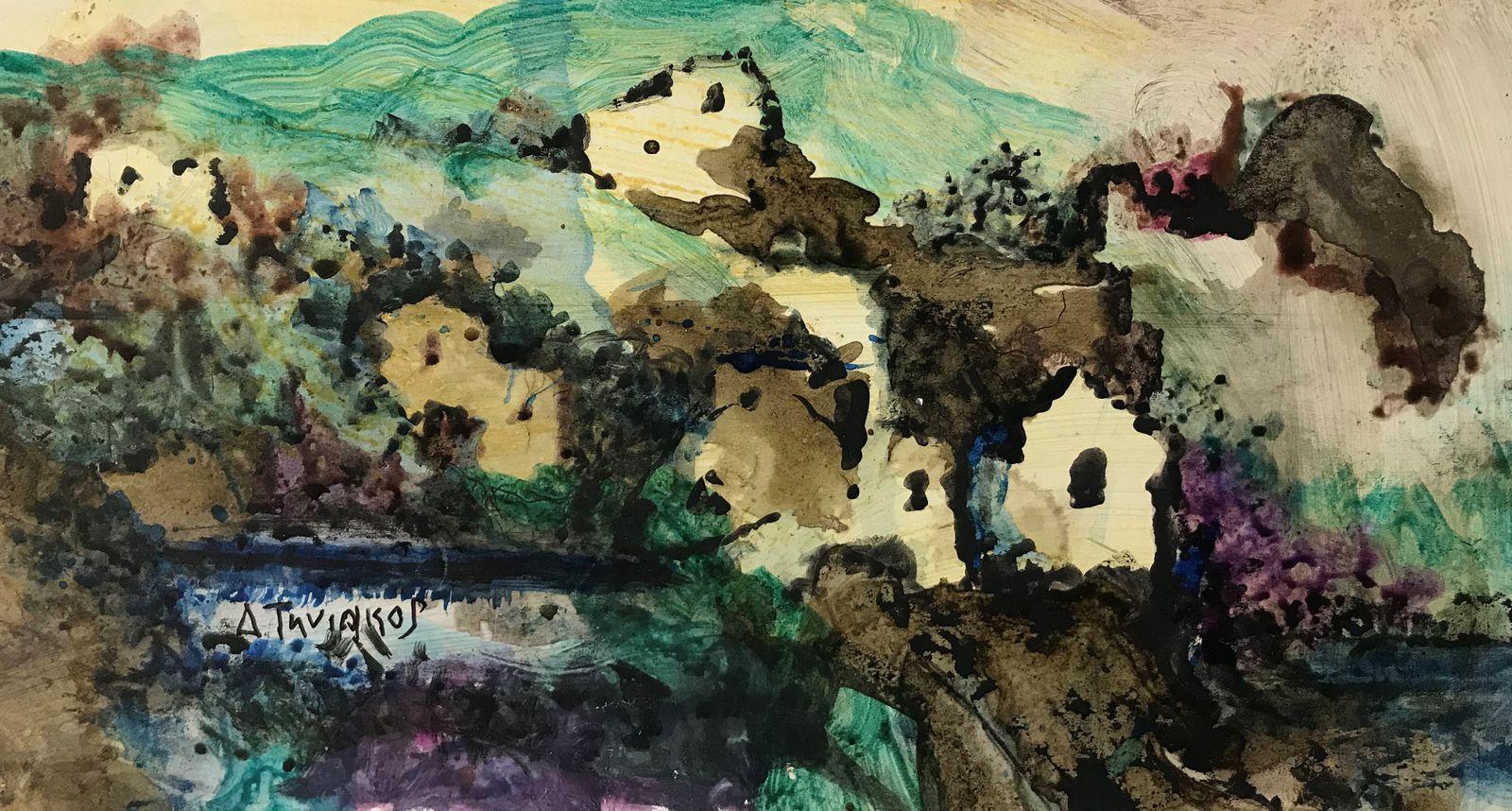 Δημήτρης Τηνιακός 16×31 εκ., Σινική μελάνι σε χαρτόνι Dimitris Tiniakos 16×31 cm Ink on carton