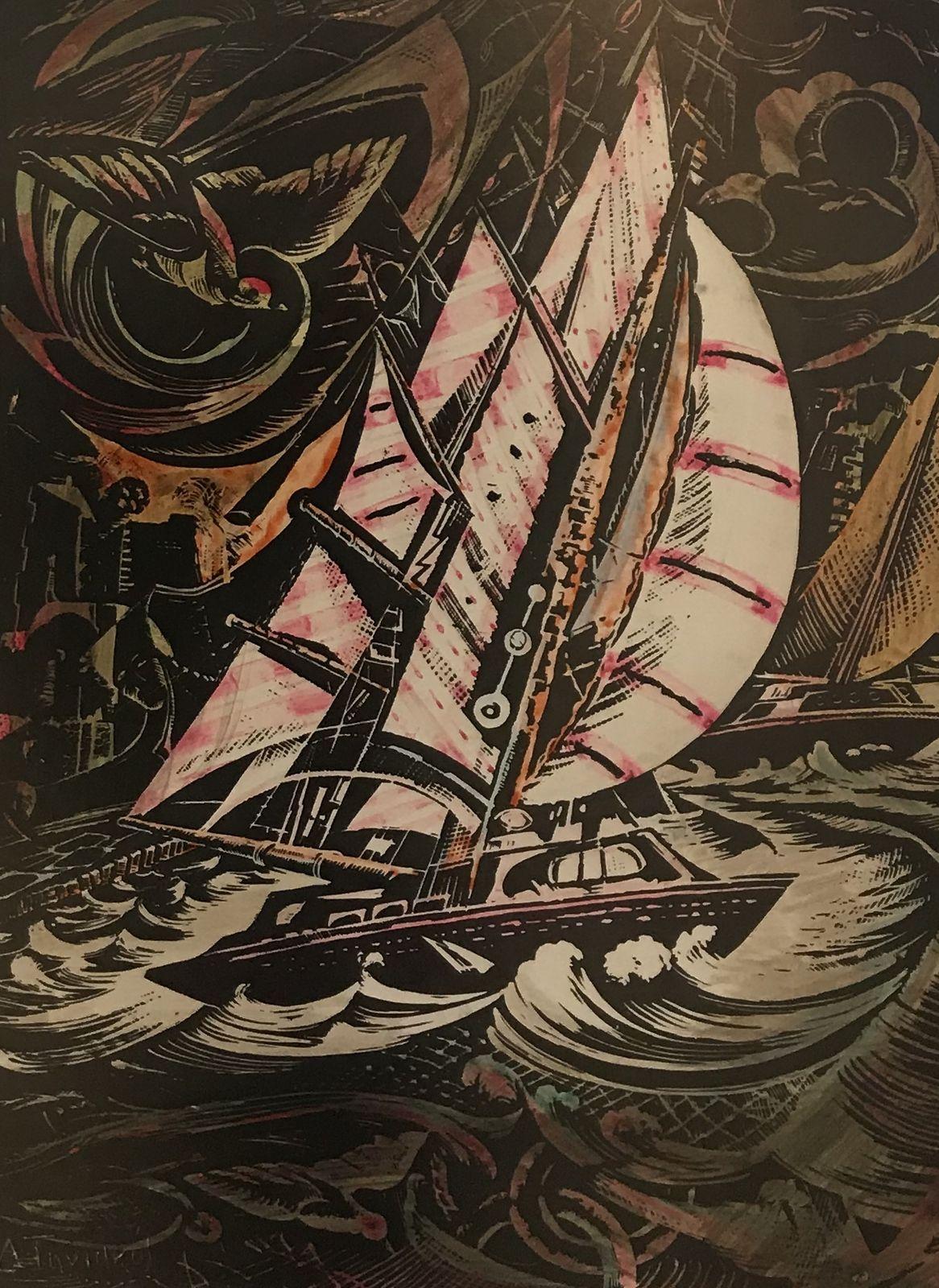 Δημήτρης Τηνιακός 41×55 εκ., Επιχρωματισμένη Λιθογραφία Dimitris Tiniakos 41×55 cm Coloured lithography