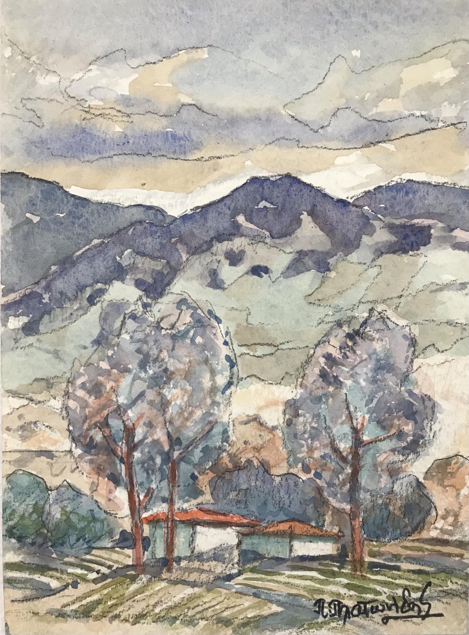 Πίνδαρος Πλατωνίδης 25×36 εκ Ακουαρέλα Pindaros Platonides 25×36 cm Water colours on paper (2)